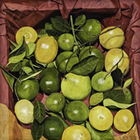 Limones con fondo rojo, 2011, oil on canvas 45 X 45 in