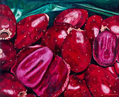 Tunas Rojas, 2010, oil on canvas 31.8 X 39.3 in