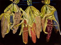 Elotes criollos, 2012, oil on canvas, 47.2 X 64.5 in