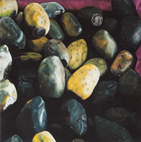Tunas, 2002, oil on canvas 27.6 x 27.6 in