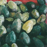 Tunas, 2003, oil on canvas 35.4 x 35.4 in