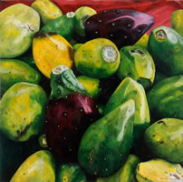 Tunas, 2004, oil on canvas 35.4 x 35.4 in