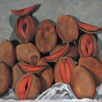 Mameyes sobre fondo gris, 2005, oil on canvas 35.4 x 35.4 in