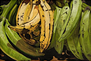 Plátanos Machos, 2011, oil on canvas 47.2 X 70.8 in