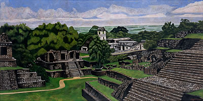 Palenque, 2006, oil on canvas, 51.2 x 102.4 in