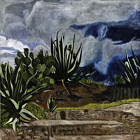 Cielo de tormenta sobre Teotihuacan, 2011, oil on canvas 39.3 X 39.3 in