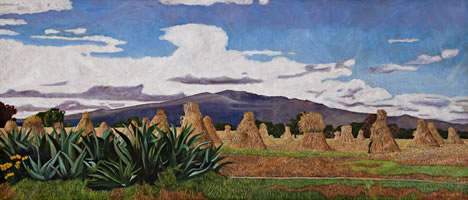 Magueyes y Toros de Maíz, 2010, oil on linen 31.8 X 74.4 in