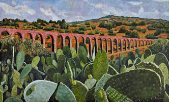 El acueducto del Padre Tembleque, 2010, oil on canvas 42.5 X 70.8 in